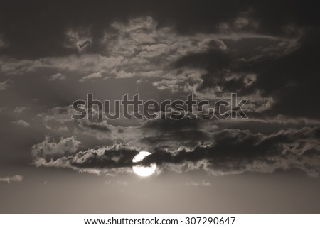 full moon in the dark night, black and white monochrome image - stock photo