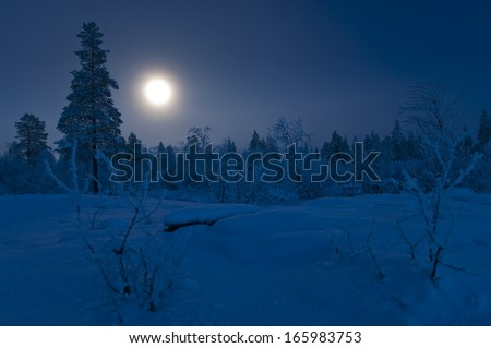 Full moon in winter, Lapland, Sweden - stock photo