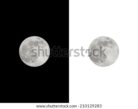 Full moon isolated on black and white background. - stock photo