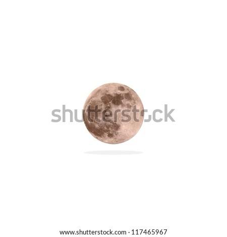 Full moon on white background - stock photo