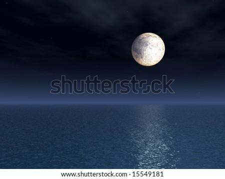 Full Moon Over Sea - stock photo