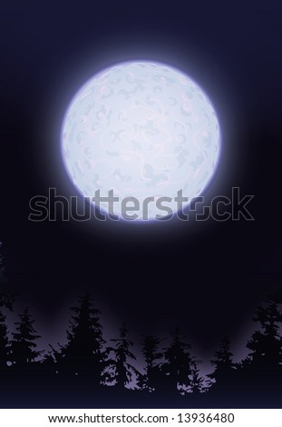 Full moon over trees (other landscapes are in my gallery) - stock photo