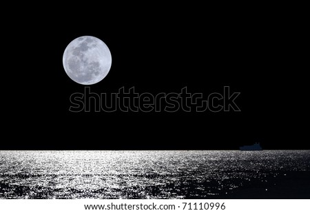 Full moon over water with abstract shining water - stock photo