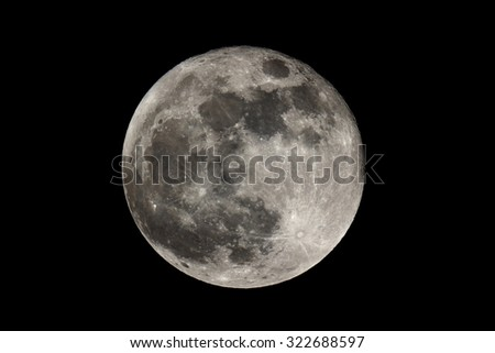Full moon seen with a telescope  - stock photo