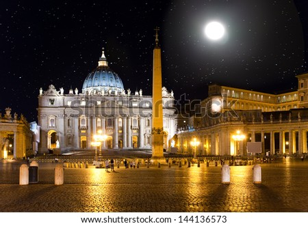 Full moon. The star sky over Saint Peter's Square. Italy. Rome. Vatican.  - stock photo