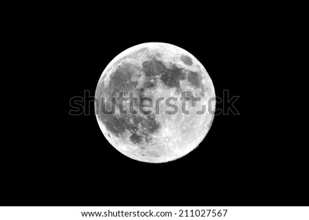 Full Moon view on black sky at perihelion in 2014 - stock photo