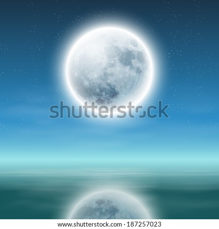 full moon with reflection on water at night. Raster version. - stock photo