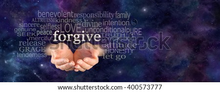 Full of Forgiveness - Cupped female hands emerging from panoramic deep space blue background with the word Forgive floating above surrounded by a relevant word cloud and copy space on right side - stock photo