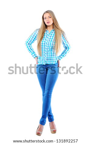 Full portrait of a beautiful woman with beauty long blond hair - posing at studio - stock photo