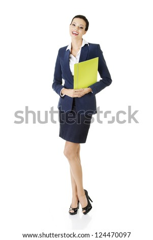 Full portrait of attractive happy businesswoman holding portfolio, isolated on white - stock photo