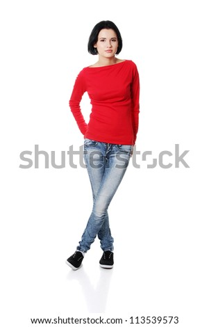Full portrait of beautiful young woman ( student ) in casual clothes, isolated on white - stock photo