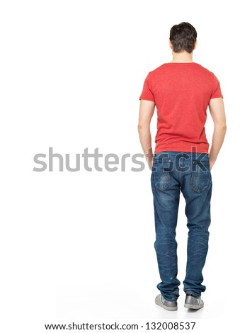 Full portrait of man standing back in casuals - isolated on white background - stock photo