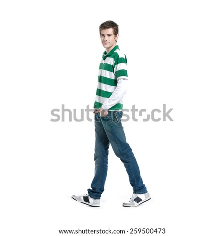 Full portrait of smiling walking man casuals isolated on white background - stock photo