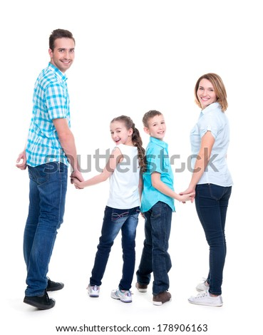 Full portrait of the happy european family with children looking at camera -  isolated on white background - stock photo