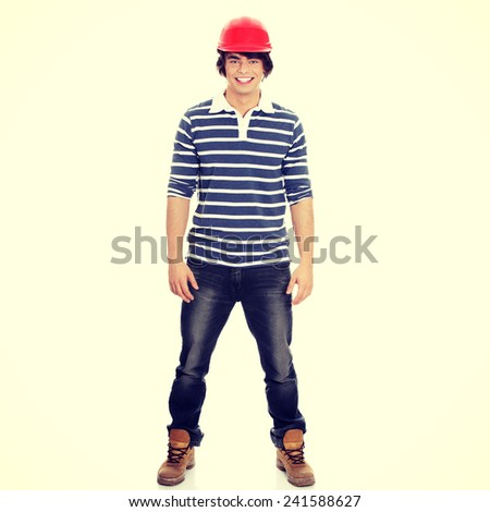 Full portrait of young craftsman - stock photo