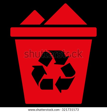 Full Recycle Bin raster icon. Style is flat symbol, red color, rounded angles, black background. - stock photo