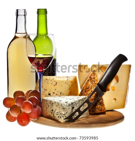 Full red wine bottles and grapes cheese isolated on white background - stock photo