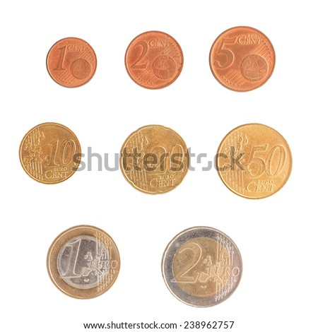 Full series of Euro coins currency of the European Union isolated over white - stock photo