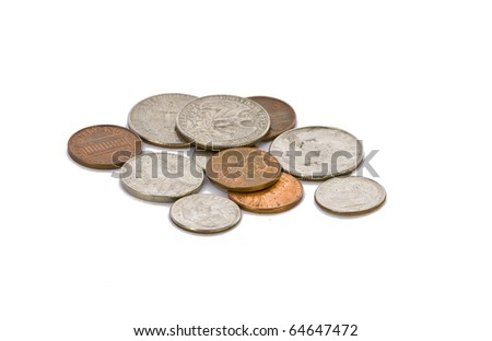 Full set of american coins in pile isolated on white - stock photo