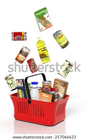 Full shopping basket with products isolated on white - stock photo