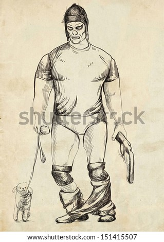 Full-sized (original) hand drawing. Halloween theme with scary monster. Muscleman from the dead with a revolver and a small dog. Black outlines drawing on old paper. - stock photo