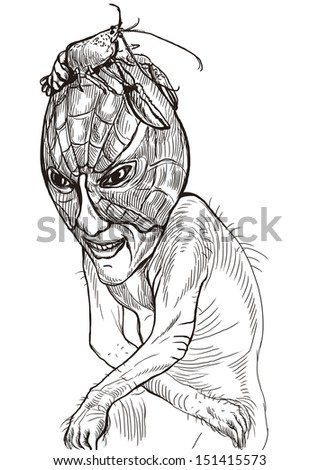 Full-sized (original) hand drawing. Halloween theme with scary monster. Sad zombie sitting in the guise of a lobster on his head. Black outlines isolated on white. - stock photo