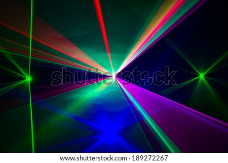 Full Spectrum of laser beams in all colors - stock photo