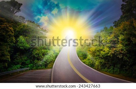Full sun Way heaven blue and yellow amazing wonderfully beautiful shining stars color think for God,Exceed the actual - stock photo