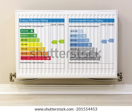 full view of a white radiator  with energy rating chart - stock photo