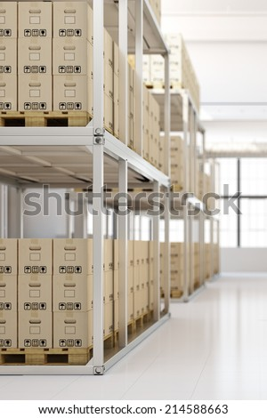 Full warehouse interior with many boxes in the shelves - stock photo