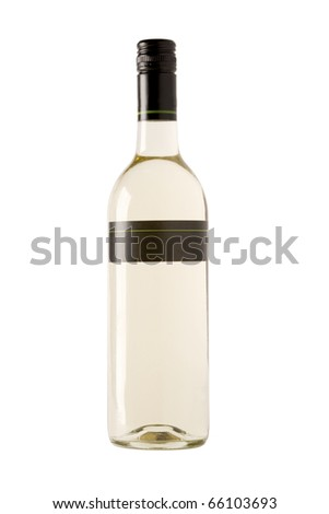 full white wine bottle with blank label - stock photo
