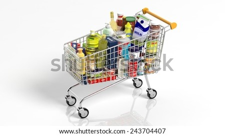 Full with products supermarket shopping cart isolated on white background - stock photo