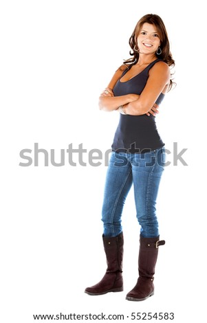 Fullbody casual woman smiling isolated over a white background - stock photo