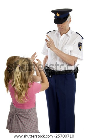 Fully dressed dutch police officer is warning two little girls who are making long nose - stock photo
