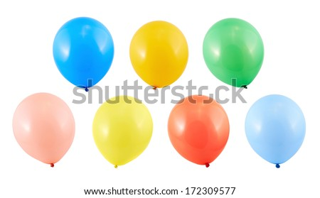 Fully inflated air balloon isolated over white background, set of seven different colors - stock photo