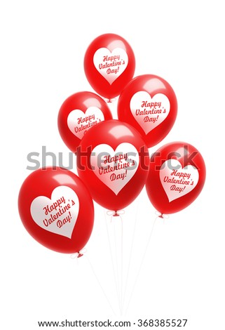 Fully inflated red balloons with Happy Valentine's Day message in a heart shape. Balloons are attached to white strings. Isolated on white background. Clipping path included. - stock photo