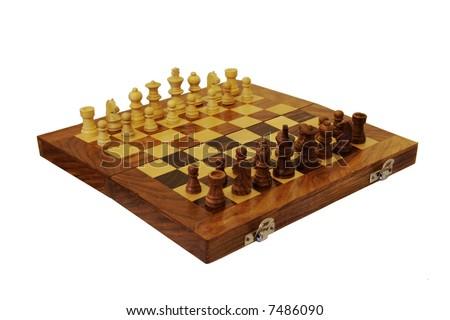 Fully set chessboard, isolated on white - stock photo