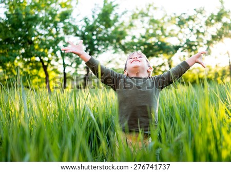 Fun and happiness for child - stock photo