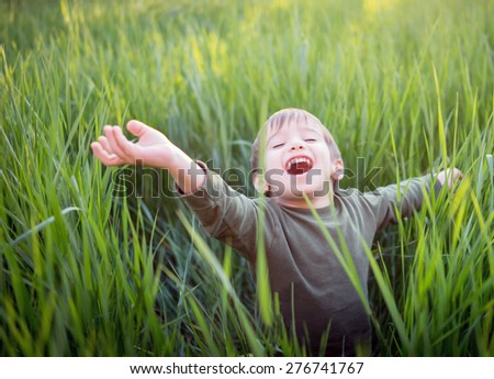 Fun and happiness for kid - stock photo