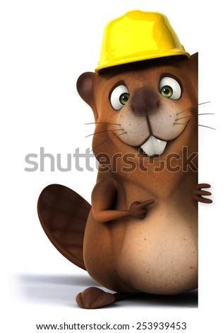 Fun beaver - stock photo