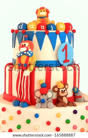 Fun circus themed birthday cake.  - stock photo