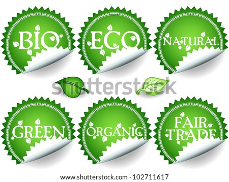 Fun collection of green shade stickers with different environmental or sustainable development related messages: bio, eco, natural, green, organic, fair trade. - stock photo