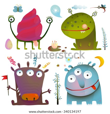 Fun Cute Little Monsters for Kids Design Colorful Collection. Amazing fictional creatures design elements isolated on white. Raster variant. - stock photo