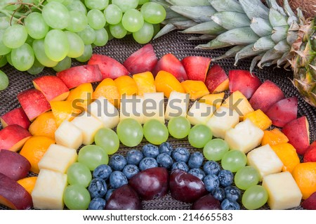 Fun food. Fruit rainbow - stock photo