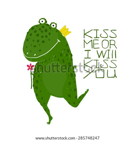 Fun Green Magic Frog Asking for Kiss Smiling . Cute humor fairy tale holding a flower hand drawn illustration.  Raster variant. - stock photo