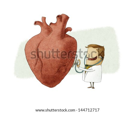 Fun illustration of a doctor examining a big heart - stock photo