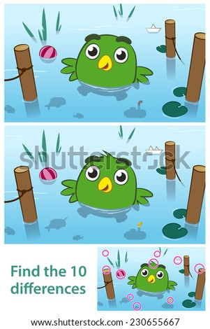 Fun kids educational puzzle of a bird in a lake with ten differences for your child to spot by comparing two pictures together with the answers in a third illustration - stock photo