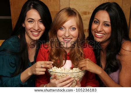 Fun Movie Night with Girlfriends - stock photo