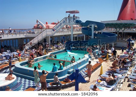 Fun on the Carnival Cruise Ship, Paradise - stock photo