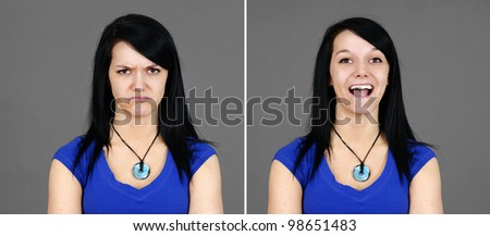 Fun pair of portraits of a pretty young brunette woman with two facial expressions: surprised or very happy and mad or disappointed (large format). - stock photo